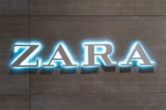 Coblenza Germania 15 12 Logo 2018 del deposito di Zara nel centro commerciale di lusso nel cuore della città fotografia stock