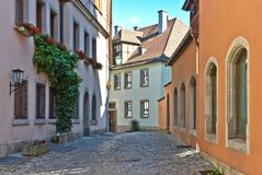 Coblestone lane in Rothenburg. Royalty Free Stock Photography