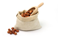 Cobnuts in a burlap bag Royalty Free Stock Image