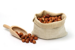 Cobnuts in a sack Royalty Free Stock Photos