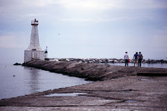 Cobourg Lighthouse. Lighthouse and Jetty, Cobourg, Ontario Royalty Free Stock Images
