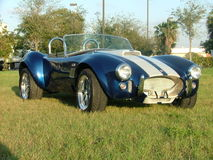 Cobra Car - Classic. Classic cobra car. white strips on blue. vintage beauty royalty free stock photo