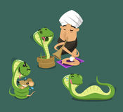 Cobra cartoon set 1. Charmer playing flute to Cobra Poisonous Snake,  illustration cartoon Stock Images