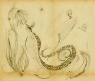 Cobra com uma coroa em sua cabeça ilustração do vetor