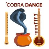 Cobra Dance Vector. Load Of Snakes. Flute And Pot. India. Isolated Cartoon Illustration vector illustration