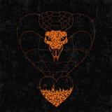 Cobra de Realisitc del corazón de la llama en el fondo del grunge ejemplo pintado simbólico del vector Imágenes de archivo libres de regalías
