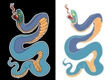 Cobra japonais de serpent pour la conception de tatouage sur le fond noir et blanc photographie stock libre de droits