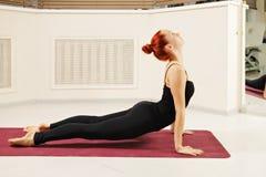 Cobra pose. Redhead exercising cobra yoga pose Stock Photography