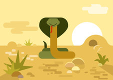 Cobra snake burrow desert flat cartoon vector wild reptile Stock Photos