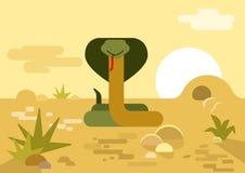 Cobra snake burrow desert flat cartoon vector wild reptile. Cobra snake burrow desert flat design cartoon vector wild animals reptiles. Flat zoo nature children Stock Illustration