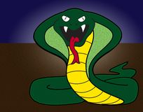 Cobra snake cartoon illustration royalty free stock images