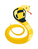 Cobra Snake coiled and ready to strike showing fangs tongue danger reptile animal wildlife cartoon vector. Royalty Free Stock Image