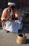 Cobra snake dance. Man is playing on flute to make cobra dance. Picture was taken in Jaipur (India Royalty Free Stock Photo