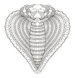 Cobra snake heart shape head zentangle stylized, vector Stock Photography