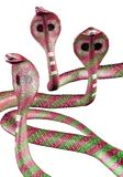 Cobra snakes. 3D illustration of threatening pink and green cobra snakes Stock Image