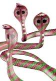 Cobra snakes. 3D illustration of threatening pink and green cobra snakes stock illustration