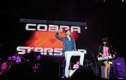 Cobra Starship - Gabe Saporte. Rio de Janeiro, Brazil, October 5, 2011. Band singer Cobra Starship, Gabe Saporta during a show at Engenhão Stadium in the city Royalty Free Stock Photography