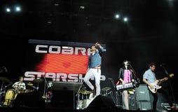Cobra Starship. Rio de Janeiro, Brazil, October 5, 2011. Vocalist Cobra Starship, Gabe Saporta and keyboardist Victoria Asher during a show at Engenhão Stadium Royalty Free Stock Images