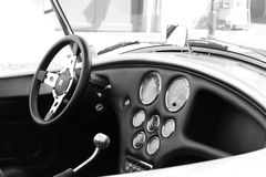 Cobra. Vintage auto cobra monocrome car interior Royalty Free Stock Photography