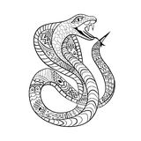 Cobra Zentangle. Ethnic ornament of the snake. For tattoo design, anti-stress coloring, children`s coloring, t-shirts Stock Image