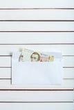 Cobre adentro un hryvnia del ucraniano del sobre Fotos de archivo libres de regalías