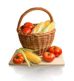 Cobs of corn and tomatoes in basket Stock Images