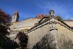 Coburg Fortress. The Veste in Coburg, Germany. fragments. The Veste Coburg, or Coburg Fortress, is one of Germany`s largest castles. It is situated on a hill stock image