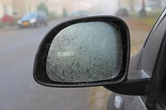 Cobweb on a car mirror Stock Images