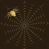 Cobweb of gold and spider. Background vector illustration of a golden spiderweb on a dark background Royalty Free Stock Photography