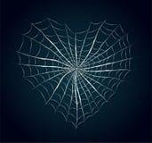 Cobweb heart on blue background. Stock Photo