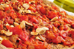 Coc de tomata, a pie with tomato and tuna typical of Valencia, S Stock Images