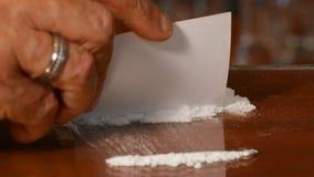 Cocaína, drogas ilegales almacen de metraje de vídeo