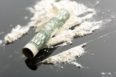 Cocaína e 10 dólares de nota Fotografia de Stock Royalty Free