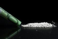 Cocaína e dinheiro Foto de Stock Royalty Free