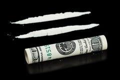 Cocaína y dinero imagenes de archivo