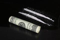 Cocaïne et cents dollars Images stock
