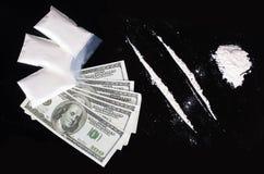 Cocaïne et dollars Image libre de droits