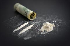 Cocaïnedrugsverslaving royalty-vrije stock fotografie