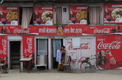 Coca Cola ads on a cafe in Kathmandu Nepal stock images