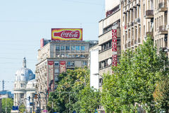 Coca-Cola Advertising On Apartment Building Stock Photo