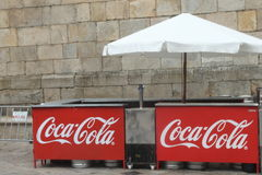 Coca Cola booth. A Coca Cola sale booth in Santiago de Compostela on the occasion of a religious Party Royalty Free Stock Photography