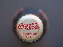 Coca Cola bottle cap in Milan. MILAN, ITALY - CIRCA AUGUST 2016: Bottle cap of Coca Cola aka Coke drink stock images