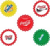 Coca-Cola bottle caps. Illustration of five vintage bottle caps, Coca-Cola, Fanta, Sprite royalty free stock images