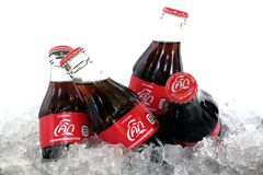 Coca Cola bottle Thailand. BANGKOK, THAILAND - June 29, 2018: Close up of Coca Cola bottles, a new original taste stock photo