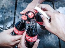 Coca Cola bottle Thailand. 5 May 2018 royalty free stock photography