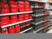 Coca Cola bottles in a supermarket. Royalty Free Stock Image
