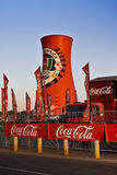 Coca-Cola Branded Smoke Stack. Large edge to edge graphics cover this landmark structure, found adjacent to the Soccer City Stadium Stock Photography