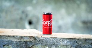 Coca-cola Can on Brown Concrete Surface Royalty Free Stock Photos