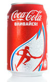 Coca-Cola can with Sochi 2014 symbolic. SOCHI, RUSSIA - 11 JANUARY 2014: Coca-Cola can with Sochi 2014 symbolic. Sochi 2014 Olympic Winter Games are the 9th Stock Photo