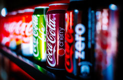 Coca Cola cans, Coke. Many different Coca Cola varieties: Cherry, Zero, Light, Classic, etc Royalty Free Stock Image